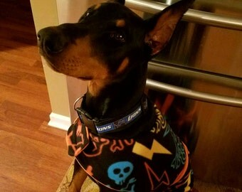 DoberJammies Reversible Fleece Dog Pajamas/Coat Skulls and Bright Orange.