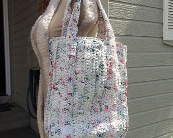 Eco Friendly Handmade Shopping Tote Bag Crocheted Recycled Plastic Bags Plarn