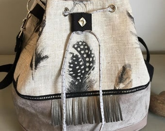 "Bucket bag ""Feathers"" spirit - handbag - boho, Bohemian Sling bag"