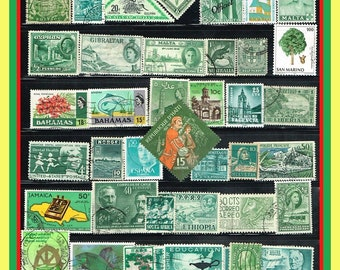 60 Green Postage Stamps - Worldwide Mix