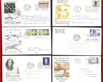 6 Canada Covers - 1955 to 1961 - First Day Covers
