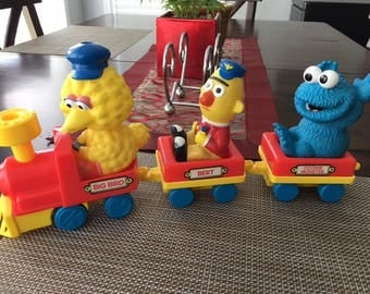 Vintage Sesame Street  Toy Train Set  Big Bird, Bert and Cookie Monster
