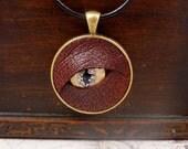 RESERVED - Dragon's Eye Pendant, dragon pendant, eye pendant, glass eye pendant, glass pendant, leather pendant, steampunk pendant, cosplay