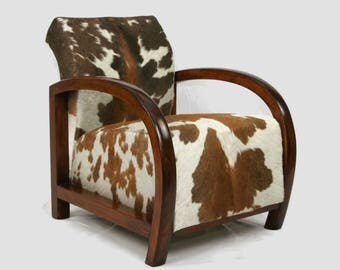 SOLD -French Art Deco Armchair upholstered in African Zulu cow hide.