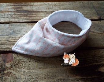 White/Pink leaf Adjustable Bandana Bib