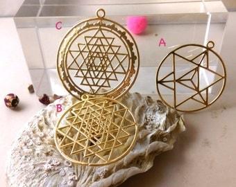 Sacred geometry etsy merkaba sri yantra gold pendant charm sacred geometry pendant diy jewellery material aloadofball Gallery