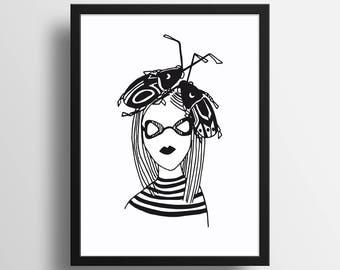 Beetle Girl - Illustration A4