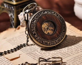 Wooden Men Pocket Watch Cool Luxury Lover Gift Chain Mechanical Steampunk