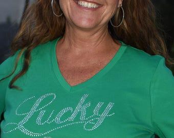 St Patricks Day Lucky rhinestone bling shirt,   S, M, L, XL, XXL, 1X, 2X, 3X