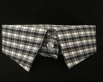 Upcycled collar, dress collar shirt, plaid, puppy, dog, cat, pet accessories