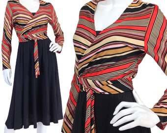 Vintage Clothing, 70s Wrap Dress M L, Striped Dress, Black Dress, 70s Rust Dress, 70s Midi Dress, Long Sleeve Dress, 1970s Dress, SIZE M L