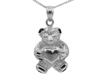 925 Sterling Silver Teddy Bear Necklace