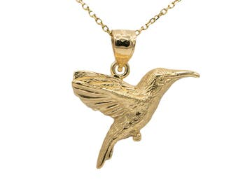 10k Yellow Gold Hummingbird Necklace