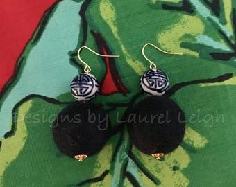 Chinoiserie Pom Pom Earrings | NAVY BLUE, blue and white, porcelain, Chinese, delft, gold, beaded, dangle, pompom, navy