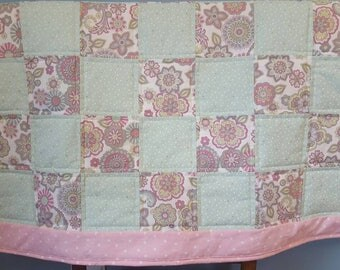 Mint and Pink Baby Quilt
