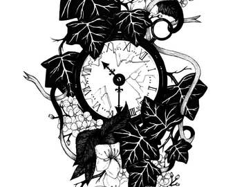 Time and Nature - Broken Pocket Watch Print - A4