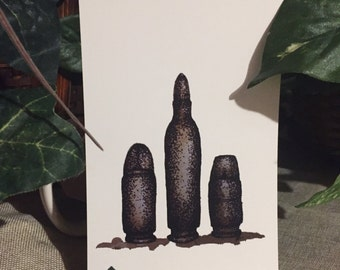 4x6 Print of Postcard Bullets Coffee Illustration