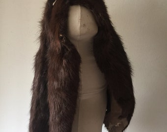Really natural fur pieces from real nutria fur soft fur one big pieces of skin festive look vintage retro women's brown fur size-universal.