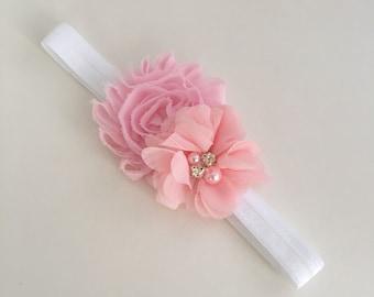 Shabby Flower Headband - Baby headband -