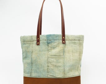 Authentic African Mudcloth And Leather Tote // Handmade Bag // Genuine Leather // Indigo