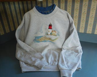 Vintage Winter Lighthouse In Gray by Top Stitch (Morning Sun) Size Large
