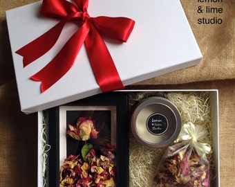 Unique handmade dried ROSE framed with rose potpourri and hand-poured soy candle Valentine's Gift for her