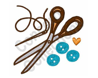 Scissors and Buttons Machine Embroidery Design