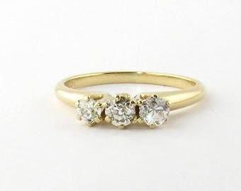 Vintage 14K Yellow Gold 3 Old Mine Diamond Ring Size 6.75 #586