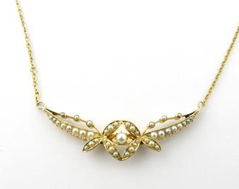 Antique 18 Karat Yellow Gold and Seed Pearl Necklace #1749