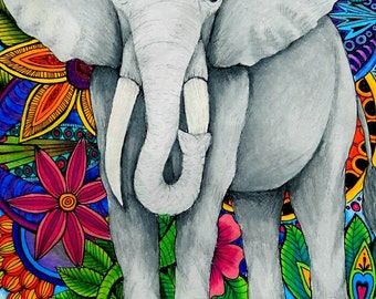 Colored Elephant Note Card/ Blank Inside
