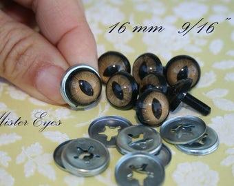 Safety eyes light brown  16 mm for   plush animal amigurumi bear cat dog plastic eyes