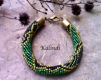 beaded bracelet Snake - Python. Beaded Crochet Bracelet