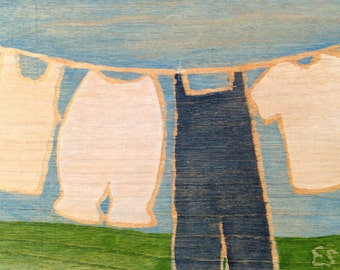 "5x7"" on wood, ready to hang, ""Overalls and Bloomers"""
