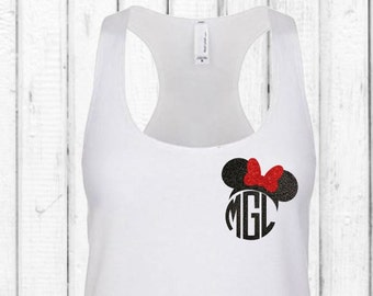Minnie Mouse Monogram Tank Top!  Glitter Vinyl Minnie Ears Shirt!  Disney Trip Monogram Tank Cute Workout Tank For Summer