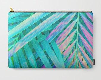 Green Travel Bag, Palm Leaf Print, Tropical Carry All Pouch, Leaf Print Zipper Bag, Mint Makeup Bag, Tropical Pencil Case, Leaf Coin Purse