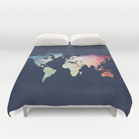 World map duvet cover navy comforter full queen king like this item gumiabroncs Gallery