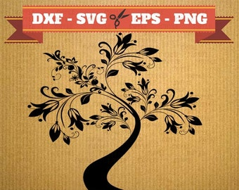 Tree SVG cutting files vector files for cricut, tree cutting files, clipart kitty, DXF files tree, silhouette tree, Tree with flower