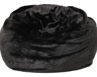 Malic Plush New Black Faux Fur Fabric Bean Bag