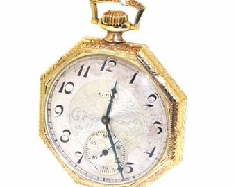 Rare 14K Yellow Gold Antique Vintage Elgin Octagon Open Face Preowned Pocket Watch