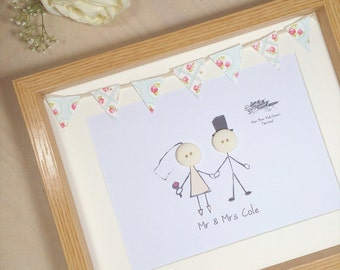 Wedding Gift / Button People / With Bunting