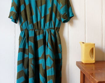 Vintage 1980's chunky blue green geometric patterned dress - Large