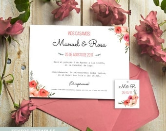 Floral Wedding Invitation Template Rose