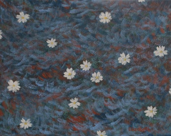 """Original Painting - Flowers on a Stream After a Storm - Fine Art Painting - Impressionist, Realist Acrylic Painting, 10"""" x 13"""""""