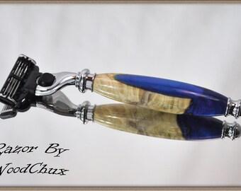 Handmade Blue Maple Burl Wood Gillette Mach 3 Fusion Double Edge Safety Shaving Razor 803