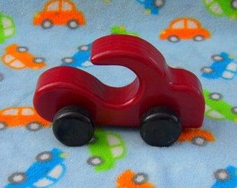 Wooden Car, Red, Push Toy Free Wheeling