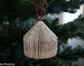 Boule Noël decoration sapin papier pages de livre pliées