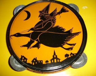 Halloween Tambourine Noisemaker tin toy (Witch riding on Goose)!!!