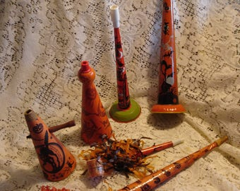 Vintage Halloween Noisemaker Horns (6 antique tin horns, cardboard Halloween horns, noise maker)