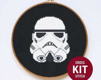 Stormtrooper Cross Stitch Kit, Classic Star Wars Storm Trooper Helmet Easy Cross Stitch Kit, Cross Stitch Pattern Instructions