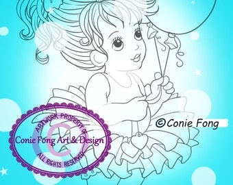 SALE Digital Stamp, Digi Stamp, digistamp, Abbie by Conie Fong, Birthday, girl holding balloon, celebration, ballerina, tutu